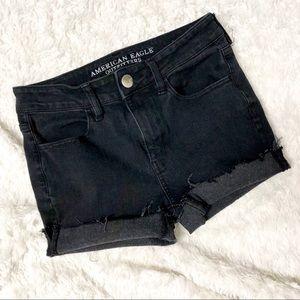 American Eagle Black Hi Rise Jegging Cutoff Shorts